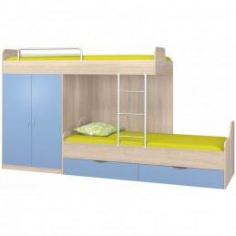 """Кровать """"Дельта-18.04.01"""" дуб/голубой"""