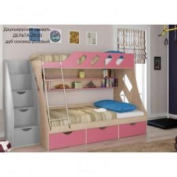 """Двухъярусная кровать """"Дельта 20.01"""" Розовый"""