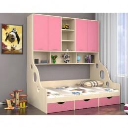 """Кровать с антресолью """"Дельта 21.01"""", Розовый"""