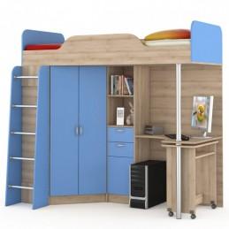 """Кровать-чердак со столом 427Т """"Ника"""" Капри синий"""