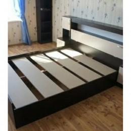 """Кровать с закроватным модулем и тумбами """"Бася СТ"""" с матрасом"""