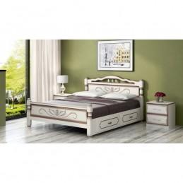 """Кровать """"Карина-5"""" дуб молочный 1,6 м, с ящиками"""
