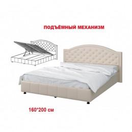 """Кровать """"№ 295 МК57"""" с подъемным механизмом Экокожа жемчуг"""
