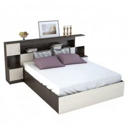 """Кровать с закроватным модулем и тумбами """"Бася СТ"""" без матраса"""