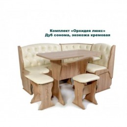 """Кухонный уголок """"Орхидея люкс-5 сонома+экокожа бежевая"""""""