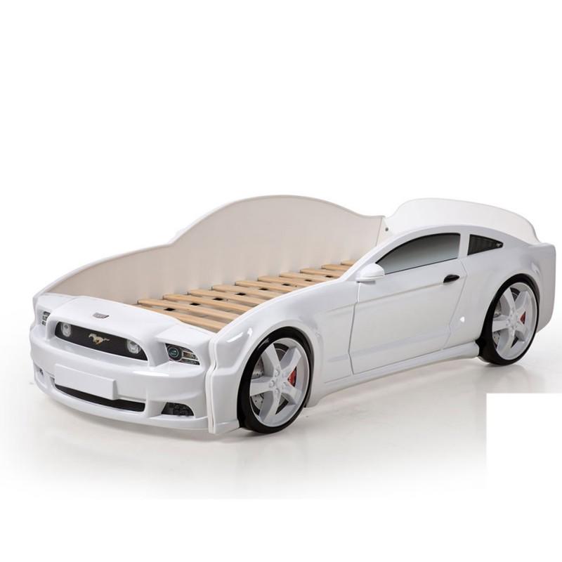 """Кровать-машина """"Мустанг"""" 3D белый"""