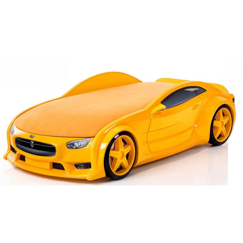 """Кровать-машина объемная NEO """"Тесла"""" желтый"""