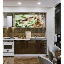 """Кухня """"Черный чай МДФ"""" 1,6 м, с фотопечатью"""