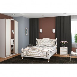 """Кровать """"Жасмин"""" дуб молочный, светлая кожа 1,4 м"""
