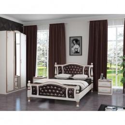 """Кровать """"Жасмин"""" дуб молочный, темная кожа 1,4 м"""