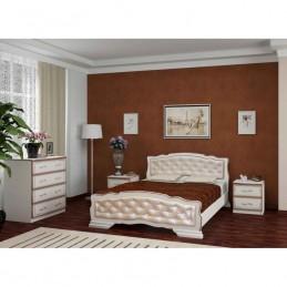 """Кровать """"Карина-10"""" 1,4 м, Дуб молочный, светлая кожа"""