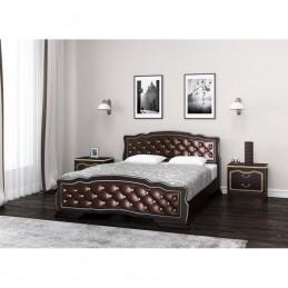 """Кровать """"Карина-10"""" 1,4 м, Орех темный, бриллиант кожа"""