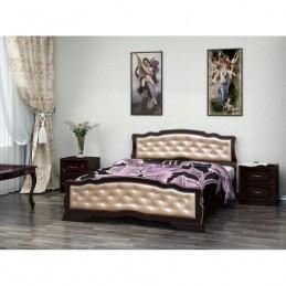 """Кровать """"Карина-10"""" 1,4 м, Орех темный, светлая кожа"""