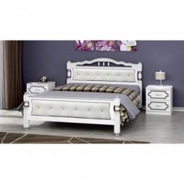 """Кровать """"Карина-11"""" 1,4 м, белый жемчуг, светлая кожа"""