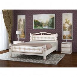"""Кровать """"Карина-11"""" 1,4 м, дуб молочный, светлая кожа"""