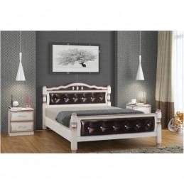 """Кровать """"Карина-11-3"""" 1,4 м, дуб молочный, темная кожа"""