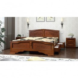 """Кровать """"Елена"""", орех 1,6 м, с ящиками"""
