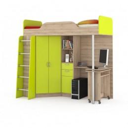 """Кровать-чердак """"Ника 427 Т"""" Лайм зелёный"""