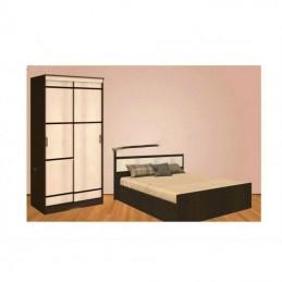 """Модульная спальня """"кровать ф-160, матрас, шкаф купе Сок-114"""""""