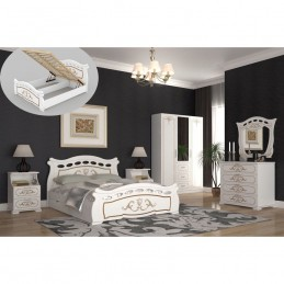 """Кровать """"Нимфа"""", 1.2 м Белый/золото с ПМ"""