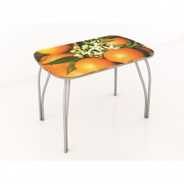 """Стол обеденный """"Агат"""" Апельсины 100 см со стеклом"""