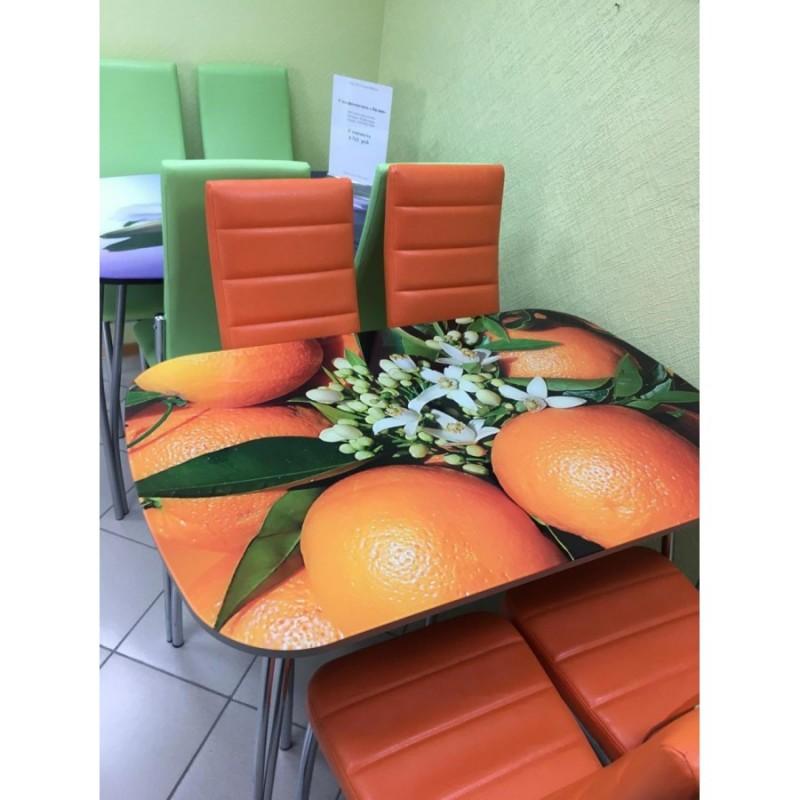 """Стол обеденный """"Агат"""" Апельсины 120 см со стеклом"""