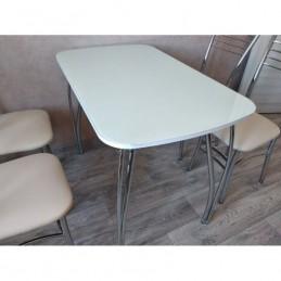 """Стол обеденный """"Агат"""" Ваниль 100 см со стеклом"""