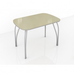 """Стол обеденный """"Агат"""" Ваниль 120 см со стеклом"""