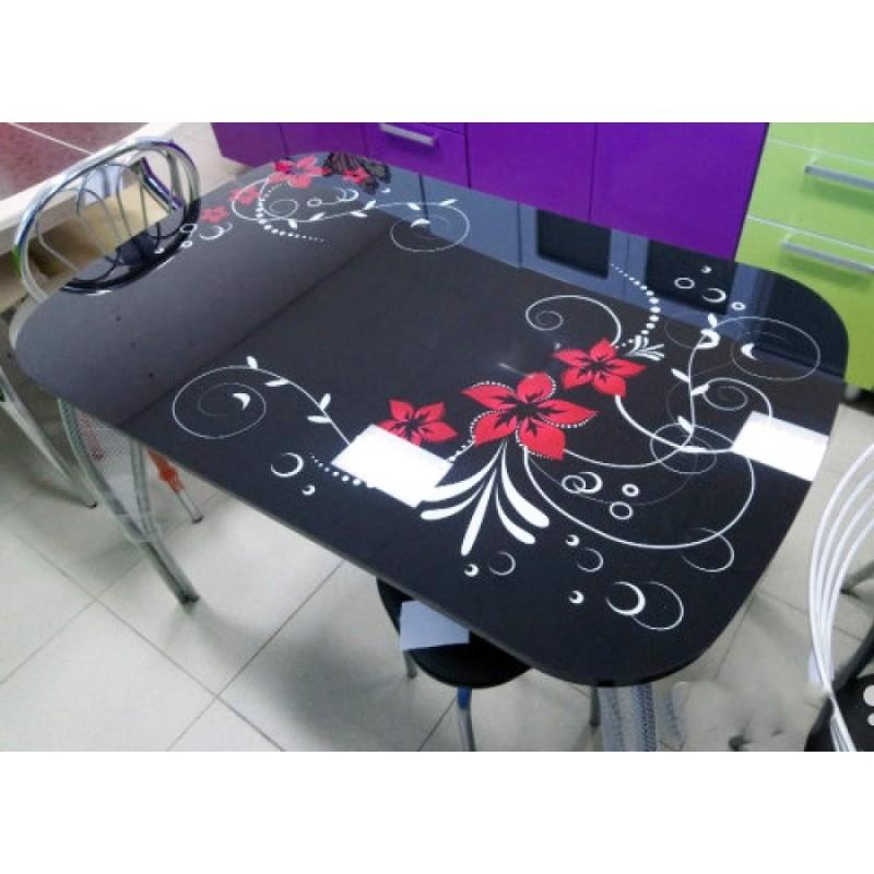 """Стол обеденный """"Агат"""" Винтаж Черный 110 см со стеклом"""