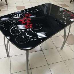 """Стол обеденный """"Агат"""" Винтаж Черный 120 см со стеклом"""