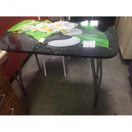 """Стол обеденный """"Агат"""" Инь-Янь 100 см со стеклом"""