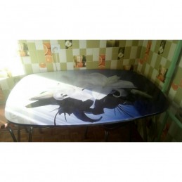 """Стол обеденный """"Агат"""" Лилия 100 см со стеклом"""