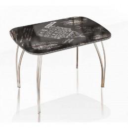 """Стол обеденный """"Агат"""" Оксфорд черный 100 см со стеклом"""