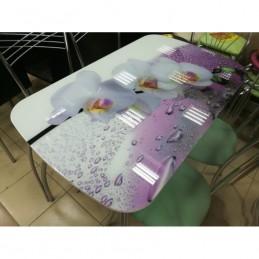 """Стол обеденный """"Агат"""" Орхидея 100 см со стеклом"""