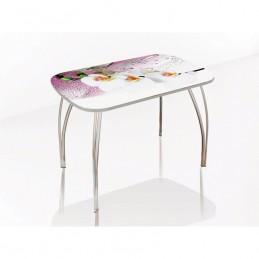 """Стол обеденный """"Агат"""" Орхидея 110 см со стеклом"""