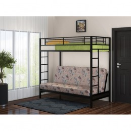 """Двухъярусная кровать с диваном """"Мадлен"""" Черный"""